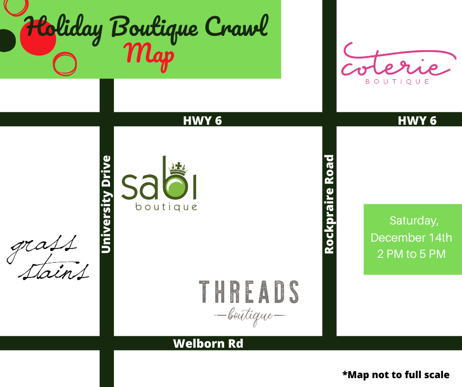 Holiday Boutique Crawl, Saturday December 14th from 2 PM to 5 PM